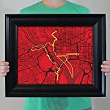 City Prints Marine Corps Marathon Course Map, 16.5' x 20.5' Frame