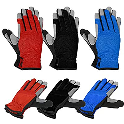MOREOK 3-Pairs Light-Duty General Utility Work Gloves,Multi-Purpose Flexible Breathable Fit- Padded Knuckles & Palm High Dexterity, Abrasion Resistant -L