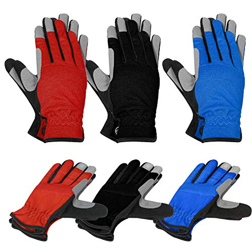 MOREOK Womens Gardening Gloves Work Gloves with Micro-Fiber for Yard Work Welding, Gardening 3Pairs-S
