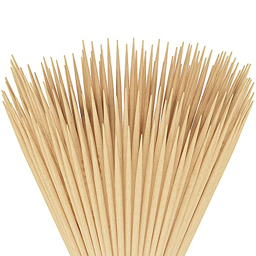 Unves Natural Bamboo Skewers 12 Inch, 100 Pcs Kabob Skewers for Grilling, Barbecue Kabob Sticks is Perfect for Hot Dog Kebab,Sausage,Vegetables,Fruit,Corn and More Food Crafting and Party