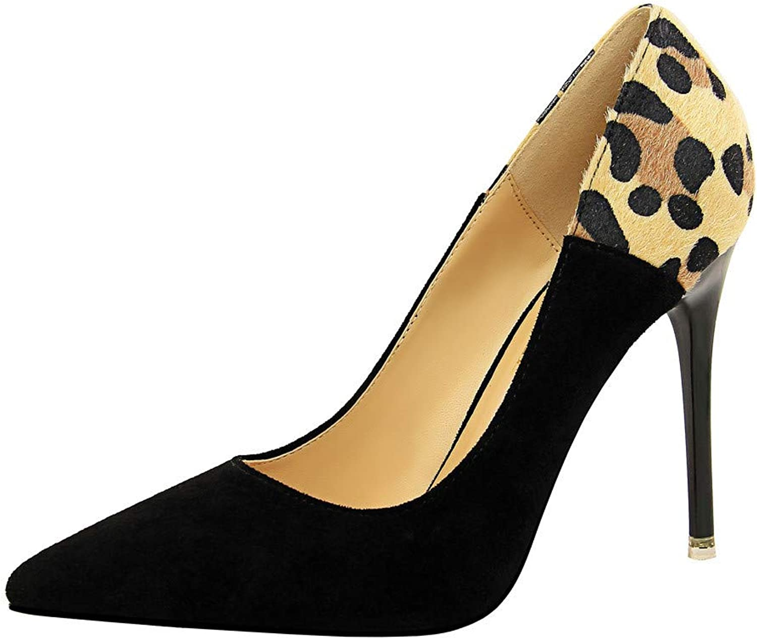 Meimeioo Women's Pointed Toe Stiletto High Heel Pumps Ladies Patchwork Slip On Dress Party shoes