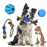 Nobleza - Juguetes para Perros, Juguetes de Cuerdas y Juguetes de Peluche con Sonido, Pelota de Juguete para Cachorros, 5 Piezas de Juguete masticable y chirriante con Bolsa interactivos