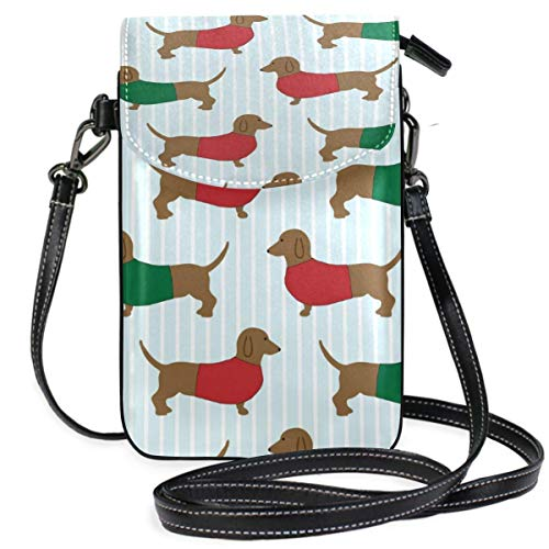 XCNGG Dachshund Dog Pattern Cell Phone Purse Wallet for Women Girl Small Crossbody Purse Bags