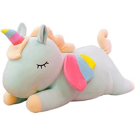 Boosns Juguete Peluche de Unicornio Caricatura de Unicornio Cojines de Peluche (Verde, 40cm)