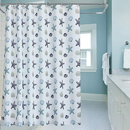 oremila Bathroom Shower Curtain 72' x 72' Seashell Starfish Multi-Color Shower Curtains Fabric Bathroom Curtain Durable Water Repellent Bath Curtain,1pcs