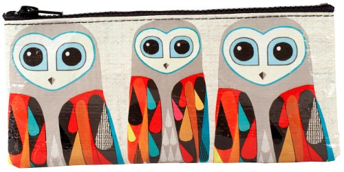 Blue Q Pencil Case, Hoo's Next? (Owl Design) Hefty Zipper, Sturdy and Easy-to-Wipe-Clean, Made from 95% Recycled Material, Great for Organizing Larger Bags -- Store Makeup, Chargers, Receipts, Pencils and more. Measures 4.25'h x 8.5'w