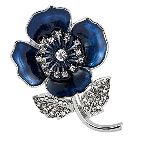 Mald Poppy Brooches Pin Badges Flower Diamante Crystal Enamel Badges Plated Broach (Blue)