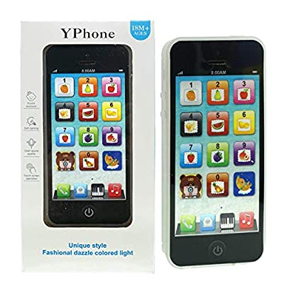 JAOK Children Music Phone, Black Yphone Toy Mobile Phone Play Music English Education Touch Learning Mobile Phone from JAOK