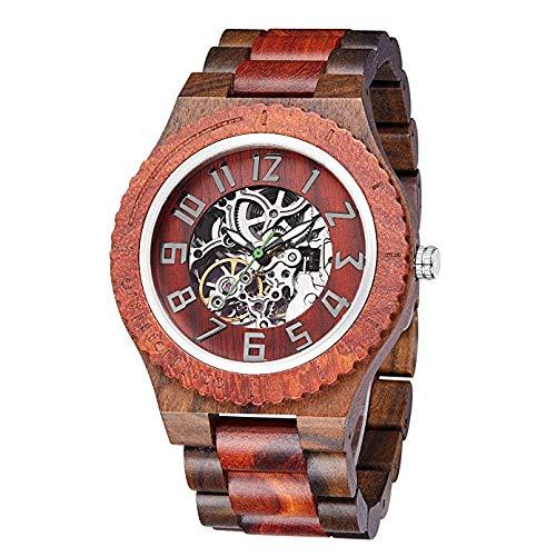 Wasserdichte Herrenuhr aus Holz,Mechanische Uhr mit Automatikaufzug für Herren,Luxuriöses Premium-Naturholz und Edelstahl,Verstellbarer Design,Hochwertige Geschenkverpackung