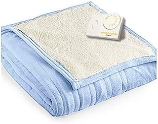 Biddeford 2060-9032138-535 MicroPlush Sherpa Electric Heated Blanket Twin Cloud Blue