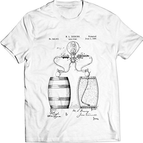 DTG Printing Pompe à bière Process Barrel Patent Patent T-Shirt 100% Coton (XXL, Blanc)