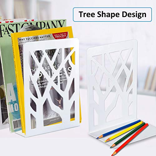 Book Ends, Bookends, Book Ends for Shelves, Bookends for Shelves, Bookend, Book Ends for Heavy Books, Book Shelf Holder Home Decorative, Metal Bookends White 2 Pair, Bookend Supports, Book Stoppers Photo #7