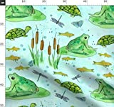 Frosch, Schildkröte, Goldfisch, Libellen, Schmetterling,