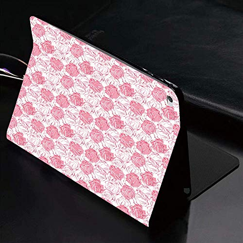 Case for iPad (9.7-Inch, 2018/2017 Model, 6th/5th Generation)Ultra Slim Lightweight Smart Cover,Rose,Artistic Girlish Pattern Rose Flower Silhouettes Outlines Botany Garde,Smart Covers Auto Wake/Sleep