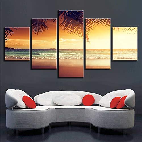 zayduo 5 Partes Formato Grande Impresion Imágenes Impresas en HD Arte de la Pared 5 Piezas Playa y Palmera Sunshine Seascape Modular Canvas Painting Decoration Home Living Room