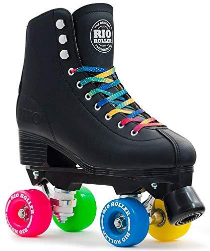 Rio Roller Figure Enfants/Adultes Quad Patins à roulettes Noir (UK 4Euro 37)