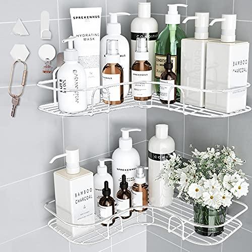 Huryfox 2 unidades de estante de ducha esquinero para colgar en el baño, a prueba de óxido, organizador de accesorios de bañera, organizador de almacenamiento adhesivo, soporte para champú, organizador de pared (blanco)