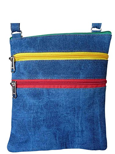 Roamlite RL178Dras - Bolsa de viaje de tela vaquera con 5 bolsillos, 22 x 18 x 1,5 cm, diseño de bandera de Jamaica
