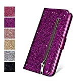 ZCDAYE Wallet Case for iPhone5 5S SE (4.0 inch), Bling Glitter Sparkly Zipper PU Leather Magnetic Flip Folio Card Pockets Holder with Tape Stand Protective Case Cover for iPhone 5/5S/SE - Purple