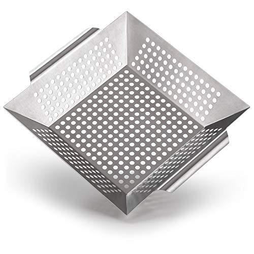 Blumtal Grillkorb aus 100{61bccae664da16f47207f55e9fa1b18cb061f1508187243e78b08a4192362e9b} Edelstahl - perfekt für Grillgemüse, Grillschale geeignet für alle Grillarten, 29,5 x 29,5 x 6 cm (Large)