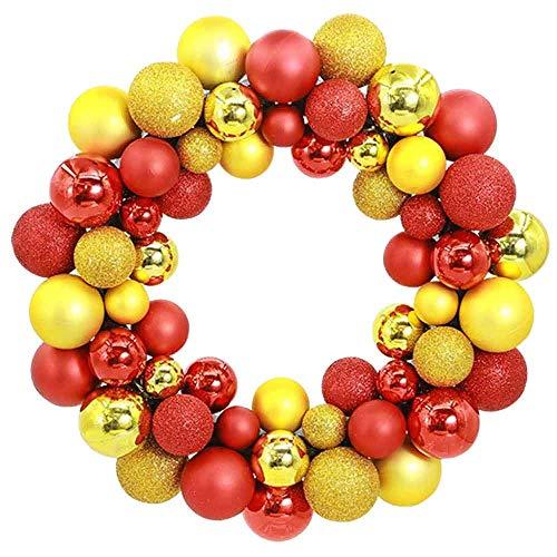 BBGSFDC Corona de Navidad grande para puerta, decoración de pared, guirnalda, decoración, lazo rojo, 35 x 35 x 7 cm, corona de Navidad, decoración de pared, decoración de año nuevo (color: dorado)
