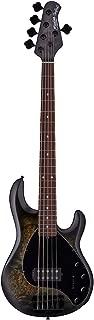 Sterling By MusicMan 5 String Bass Guitar, Right, Poplar Burl, Trans Black Satin (RAY35PB-TBKS-R2)