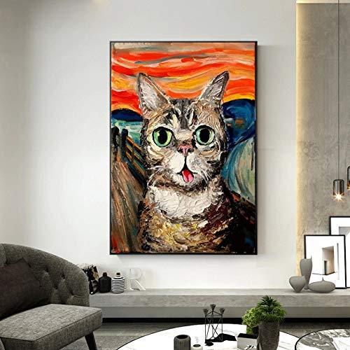 QAZEDC Leinwandbild The Scream Berühmte Gemälde Fat Cat Art Leinwandbilder Poster und Drucke Wandkunst Bilder für Wohnzimmer Dekor