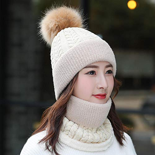 MIBQM Unisexo Beanie Sombrero de Lana de otoño e Invierno, Conjunto de Babero, Sombrero de Punto, Sombrero de Montar cálido para Mujer-Beige