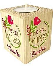 Bougie personnaliséeMerci Maîtresse – Porte Bougie en bois personnalisé avec le prénom – Cadeau de fin d'année scolaire pour remercier l'institutrice – personnalisable pour Maîtresse d'école