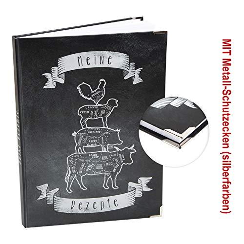 Logbuch-Verlag leeres Rezeptbuch ohne Vorgaben - frei Gestalten - DIN A4 schwarz weiß Tiere - Kochbuch Blankobuch Geschenkidee Küche