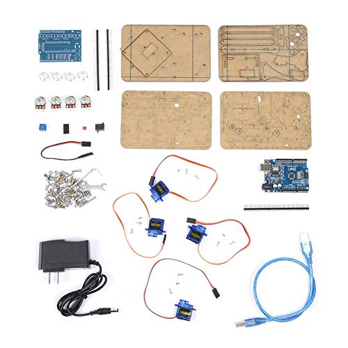 Arduino 4 DOF Robot Claw Kit, DIY Assembly Acrylic Mechanical Arm for Arduino Robotics SNAM1900