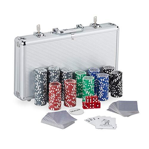 Relaxdays Pokerkoffer, 300 Laser Pokerchips, 2 Kartendecks, 5 Würfel, Dealer Button, verschließbar, Aluminium, silber