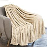 PAVILIA Luxury Flannel Fleece Blanket Throw Cream Ivory | Soft Decorative Jacquard Weave Microfiber Throw for Bed Sofa Couch | Velvet Textured Leaves Pattern | Lightweight Plush Cozy Warm | 50'x60'