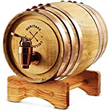 REFINERY AND CO Miniature Wood Whiskey Barrel Dispenser 800 ml/27 fl oz Volume, for Serving and Entertaining, Table Home Accent Display & Storage of Spirits, Liquors (Standard version)