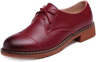 Bonrise Women's Classic Wingtip Oxfords Shoes Vintage Brogues Lace-up Flat Low Heel Casual Dress Oxford White