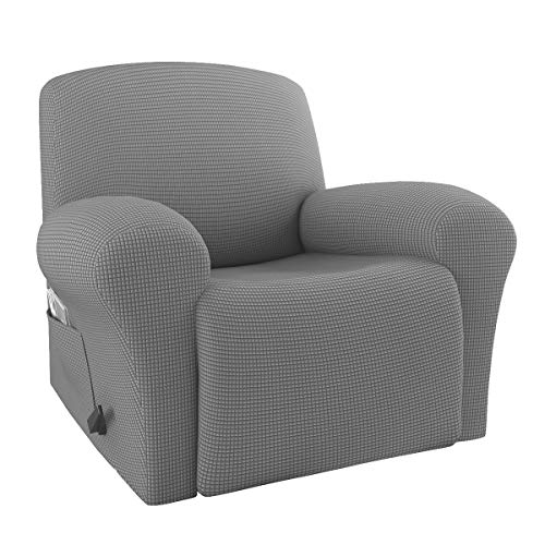 Rose Home Fashion RHF 4 Separate Piece Stretch Recliner Slipcovers, Recliner Chair Cover, Recliner Cover Furniture Protector Elastic Bottom, Recliner Slipcover with Side Pocket (Gray-Recliner)