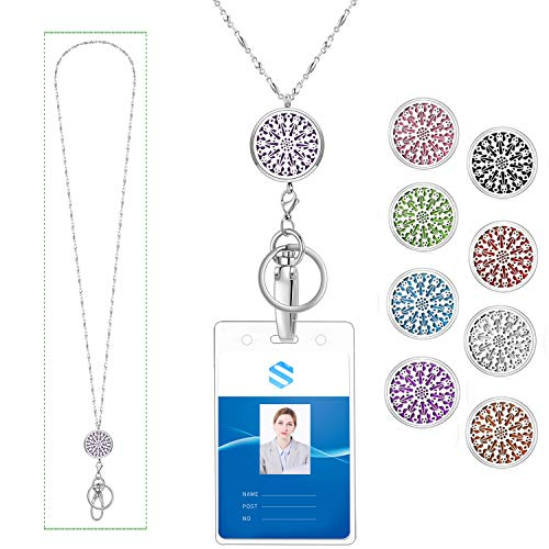 AryaHozel Strong Lanyard Diffuser Necklace for Women with ID Badge Holder Key Chains Stainless Steel Beaded Chain Necklace for Her Women Girls Nurse Essential Oil Aromatherapy Locket Pendent Diffuser