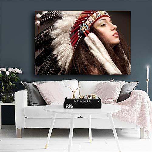 wZUN Indio Indio Belleza Tocado de Plumas Lienzo Pop Art Carteles escandinavos e Impresiones Mural para Sala de Estar 50x70cm