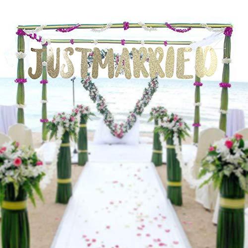 Sanpyl Pancarta romántica con Letras de empavesado de Moda, Pancarta de recién Casados, para Decoraciones de Boda Adornos de Boda Accesorios para Fiestas(Just Married-Golden)