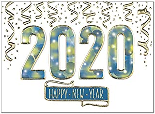 25 Premium New Year Cards - Sparkling 2020 with Gold Glitter Foil Embossing - 26 White Envelopes - FSC Mix