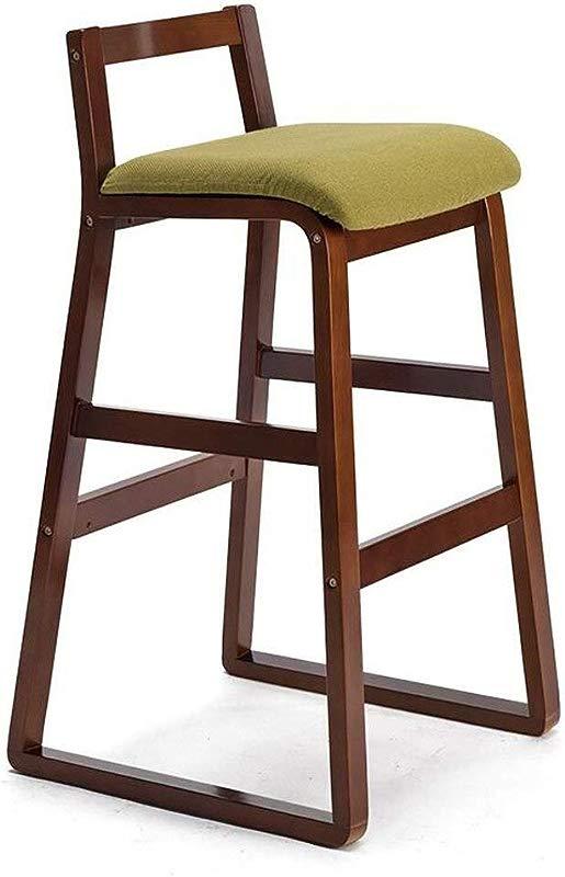 Carl Artbay Wooden Footstool Green Cushion Brown Wooden Frame Modern Home Bar Chair Solid Wood High Stool Retro Bar Chair High Stool Home Size High 77cm