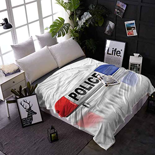 shirlyhome Bed Blanket Police Air Conditioner Blanket Police Car Sirens Blue Best Gift for Women, Men, Kid, Teen 70x93 Inch