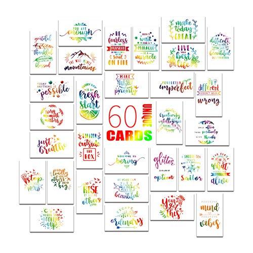 Motivational Cards - Inspirational and Kindness Note Cards, Gratitude Encouragement Card Set – 60 Cards