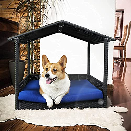 Leaptime Pet Playpens Black PE Wicker Outdoor Indoor Dog Sofa Royal Blue Cushion Rabbit Outside Bed with Roof Patio Cat Chair Outdoor Wicker Dog Bed Canopy Cage