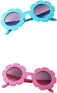 perfeclan - perfeclan 2x Gafas De Sol Vintage Flower Para Niños Pequeños UV400 Summer Shades For Girls Boys