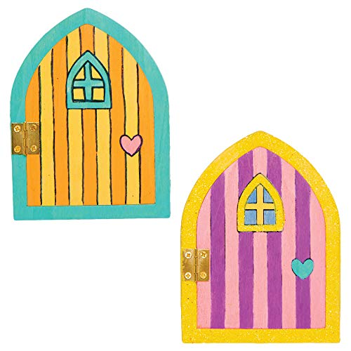 Baker Ross AT535 Wooden Fairy Doors, Ideal for Kids Arts and Craft Project, Educational Toys, Gifts, Keepsakes and More (4 Pack)