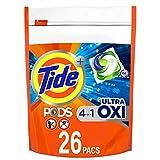 Tide Pods Ultra Oxi Liquid Detergent Pacs, 26 Count
