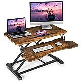COSTWAY höhenverstellbarerer Sitz-Steh-Schreibtisch mit Tastaturablage und Tablet-Halter, Tischaufsatz mit versteckte Kabelführungshaken, Monitorständer für Monitor oder Laptop (Braun)