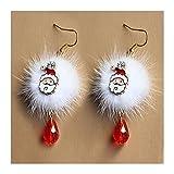 GDYJP Pendientes de Navidad Pompon Copo de Nieve Copo de Nieve Reno de Papá Noel Pendientes de Navidad for Mujer Decoraciones de joyería de Moda (Color : B, Size : One Size)
