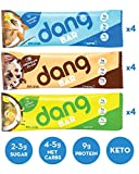 Dang Keto Bar | 3 Flavor Variety | 12 Pack | Keto Certified, Vegan, Low Carb, Low Sugar, Plant Based, Non GMO, Gluten Free Snacks | 4-5g Net Carbs, 9g Protein, No Added Sugars